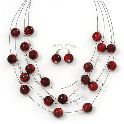 Burgundy Red/Black Animal Print Acrylic Bead Wire Necklace &amp; Drop Earrings Set In Black Tone - 54cm Length/ 5cm Extension