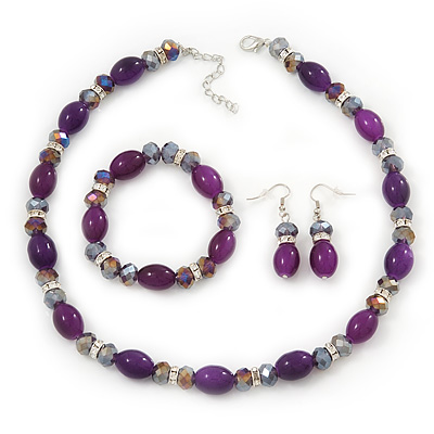 Purple Glass/Crystal Bead Necklace, Flex Bracelet &amp; Drop Earrings Set In Silver Plating - 44cm Length/ 5cm Extension