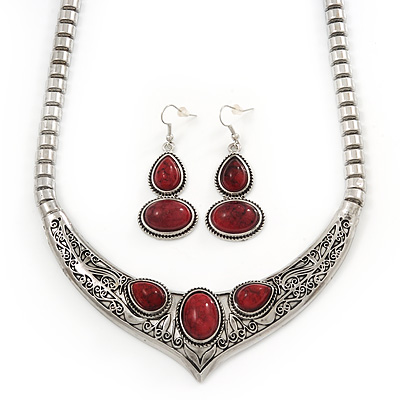 Ethnic Burn Silver Hammered, Burgundy Red Ceramic Stone Necklace With T-Bar Closure &amp; Drop Earrings Set - 40cm Length