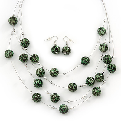 Light Green/Black Animal Print Acrylic Bead Wire Necklace &amp; Drop Earrings Set In Silver Tone - 54cm Length/ 5cm Extension