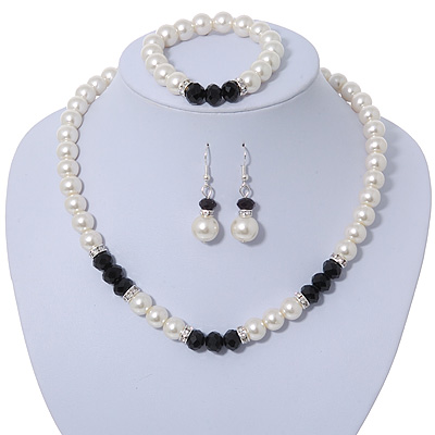 White Glass Pearl Bead Necklace, Flex Bracelet & Drop Earrings Set With Diamante Rings & Black Beads - 38cm Length/ 6cm Extension