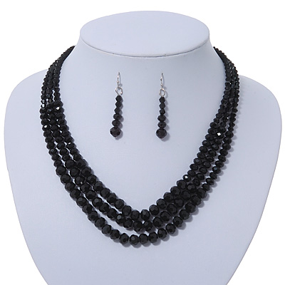 Jet Black Multistrand Faceted Glass Crystal Necklace &amp; Drop Earrings Set In Silver Plating - 44cm Length/ 6cm Extender