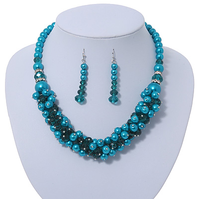 Teal Faux Pearl/ Glass Crystal Cluster Necklace &amp; Drop Earrings Set In Silver Plating - 38cm Length/ 6cm Extender