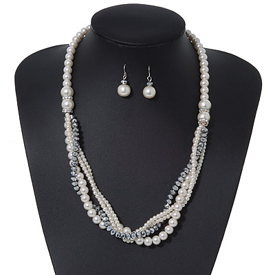 Multistrand White Glass Pearls & Grey Crystal Beads Long Necklace & Drop Earrings In Silver Plating - 52cm Length