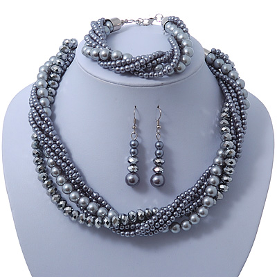 Grey, Metallic Grey Simulated Glass Pearl Bead Multi Strand Neckace, Bracelet & Drop Earrings Set In Silver Tone - 34cm Length/ 4cm Extender