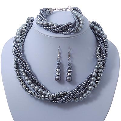Grey, Metallic Grey Glass Pearl Bead Multi Strand Neckace, Bracelet & Drop Earrings Set In Silver Tone - 34cm Length/ 4cm Extender