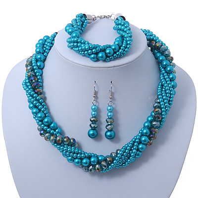 Azure, Metallic Teal Simulated Glass Pearl Bead Multi Strand Neckace, Bracelet & Drop Earrings Set In Silver Tone - 34cm Length/ 4cm Extender - main view