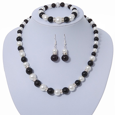 Black/ White Glass Pearl Bead Necklace, Flex Bracelet & Drop Earrings Set With Diamante Rings - 38cm Length/ 6cm Extension