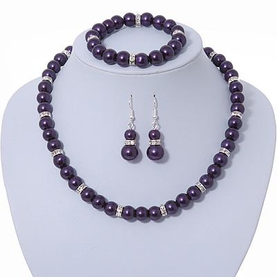 Deep Purple Glass Bead Necklace, Flex Bracelet & Drop Earrings Set With Diamante Rings - 38cm Length/ 6cm Extension