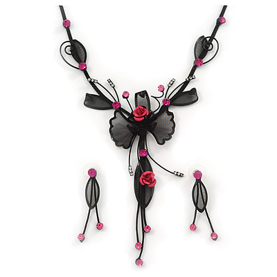 Exquisite Y-Shape Magenta Rose Necklace &amp; Drop Earring Set In Black Metal