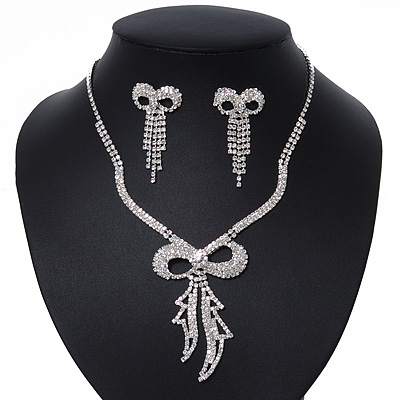 Clear Swarovski Crystal &#039;Bow&#039; Necklace &amp; Drop Earrings Set In Rhodium Plating - 36cm Length/ 7cm Extension