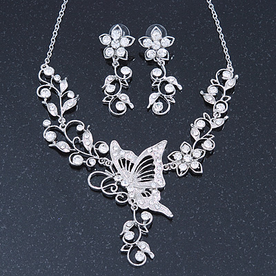 Clear Swarovski Crystal &#039;Butterfly&#039; Necklace &amp; Drop Earring Set In Rhodium Plating - 40cm Length/ 6cm Extension
