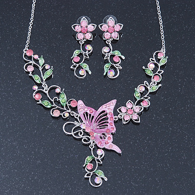 Pink/ Green Swarovski Crystal &#039;Butterfly&#039; Necklace &amp; Drop Earring Set In Rhodium Plating - 40cm Length/ 6cm Extension