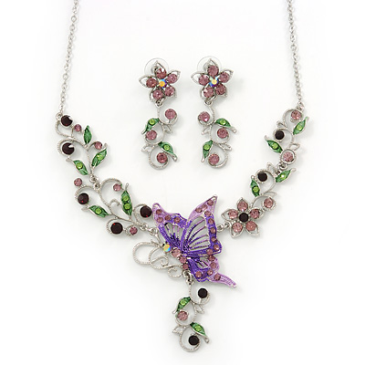 Purple/ Lilac/ Green Austrian Crystal 'Butterfly' Necklace & Drop Earring Set In Rhodium Plating - 40cm Length/ 6cm Extension
