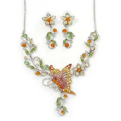 Green, Citrine & Topaz Coloured Austrian Crystal 'Butterfly' Necklace & Drop Earring Set In Rhodium Plating - 40cm Length/ 6cm Extension - main view