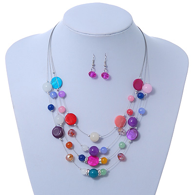 Avalaya Fuchsia Square Shell & Crystal Floating Bead Necklace & Drop Earring Set - 52cm Length/6cm extension UdM2OZ2l