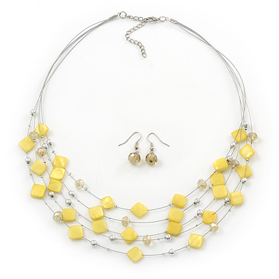 Lemon Yellow Square Shell & Crystal Floating Bead Necklace & Drop Earring Set - 52cm Length/ 6cm extension