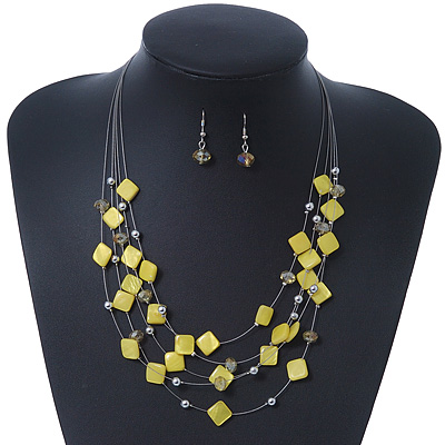 Lemon Yellow Square Shell &amp; Crystal Floating Bead Necklace &amp; Drop Earring Set - 52cm Length/ 6cm extension