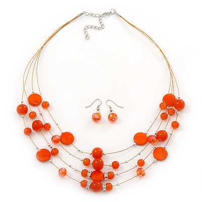 Rusty Orange Shell & Crystal Floating Bead Necklace & Drop Earring Set - 52cm L/ 5cm Ext