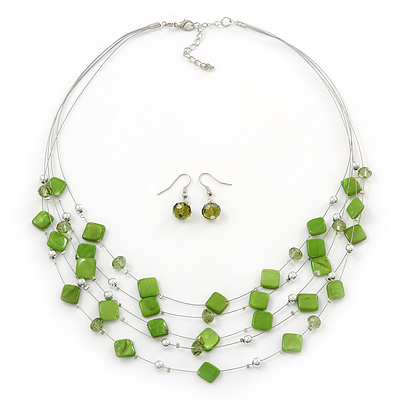 Lime Green Square Shell & Crystal Floating Bead Necklace & Drop Earring Set - 52cm Length/ 6cm extension