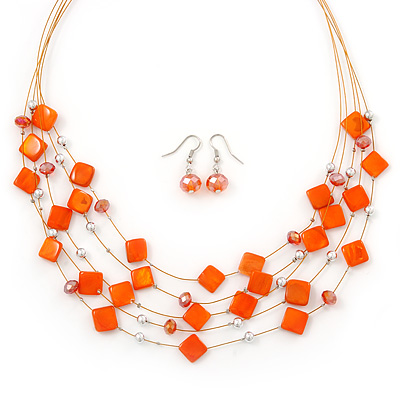 Orange Square Shell & Crystal Floating Bead Necklace & Drop Earring Set - 52cm Length/ 6cm extension