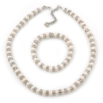 Freshwater Pearl With Crystal Rings Necklace & Flex Bracelet Set In Rhodium Plating - 7mm Pearl - 40cm Length/ 7cm Extender