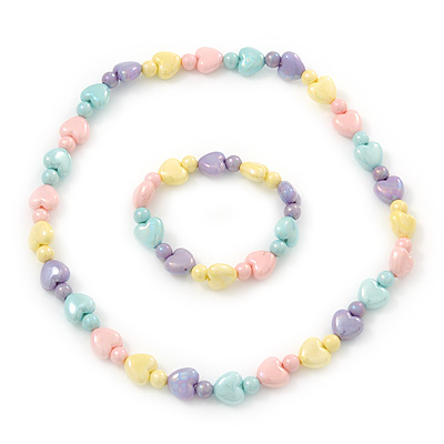 Children's Multicoloured Acrylic Heart Flex Necklace & Flex Bracelet Set