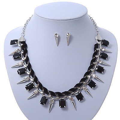 Crystal, Black Jewelled Stone, Velour Ribbon, Spike Necklace & Stud Earrings Set In Silver Tone - 44cm Length/ 6cm Exntension - main view