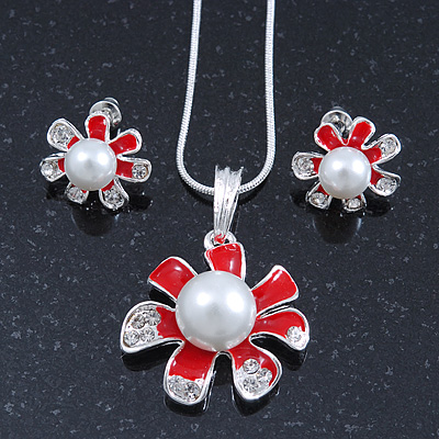Enamel Red Simulated Pearl, Crystal Flower Pendant With Silver Tone Snake Style Chain & Stud Earrings Set - 40cm Length/ 6cm Extender - main view
