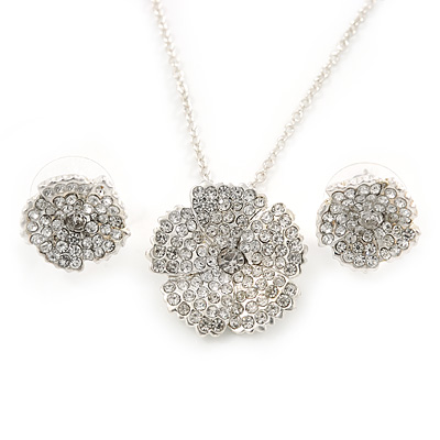 Clear Austrian Crystal Flower Pendant With Silver Tone Chain and Stud Earrings Set - 46cm L/ 5cm Ext - Gift Boxed - main view