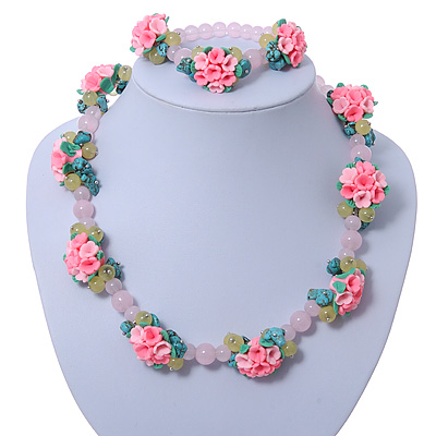 Rose Quartz, Turquoise Bead Fimo Rose Necklace And Flex Bracelet Set In Silver Tone - 40cm Length/ 5cm Extension