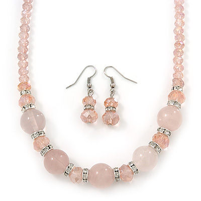 Rose Quartz, Pink Glass Bead, Clear Crystal Ring Necklace & Drop Earrings In Silver Tone - 40cm Length/ 5cm Extension