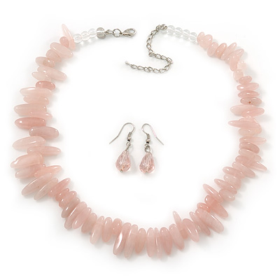 Chunky Rose Quartz Stone Necklace & Glass Bead Drop Earrings In Silver Tone - 40cm Length/ 5cm Extension