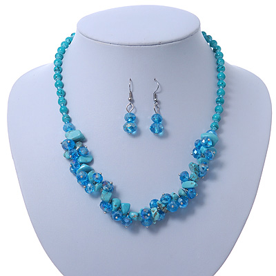 Avalaya Delicate Y-Shape Blue Rose Necklace & Drop Earring Set In Black Metal 38ueuZWFBL