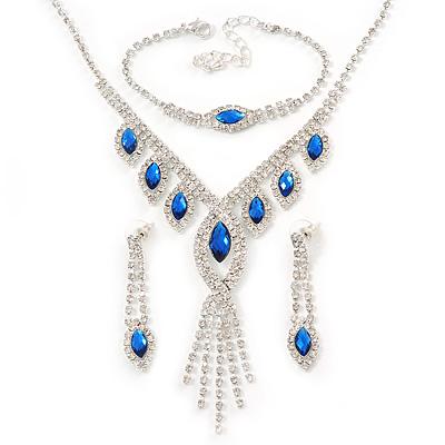 Bridal/ Prom/ Wedding Blue/ Clear Crystal Leaf V-shape Necklace, Bracelet and Drop Earrings Set In Silver Tone - Necklace 34cm L/ 12cm Ext, Bracelet 1
