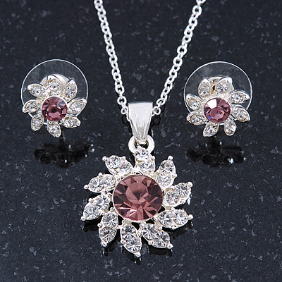 Clear/ Purple Austrian Crystal Flower Pendant With Silver Tone Chain and Stud Earrings Set - 40cm L/ 5cm Ext - Gift Boxed - main view