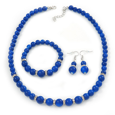 Royal Blue Ceramic Bead Necklace, Flex Bracelet & Drop Earrings With Crystal Ring Set In Silver Tone - 44cm Length/ 6cm Extension