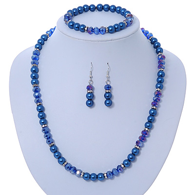 Navy Blue Glass Bead With Crystal Rings Necklace, Flex Bracelet & Drop Earrings Set In Silver Tone - 44cm L/ 5cm Ext