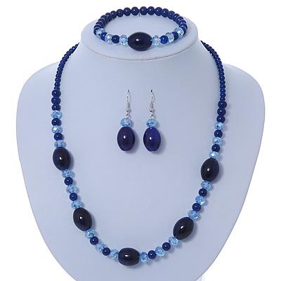 Royal Blue/ Light Blue Ceramic, Glass Bead Necklace, Flex Bracelet & Drop Earrings Set In Silver Tone - 42cm L/ 4cm Ext