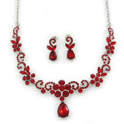 Bridal/ Prom/ Wedding Ruby Red Austrian Crystal Floral Necklace And Earrings Set In Silver Tone - 46cm L/ 5cm Ext - main view