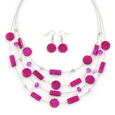 Fuchsia Stripy Shell And Crystal Bead Multi-Strand Necklace And Drop Earrings In Silver Tone - 50cm L/ 4cm Ext