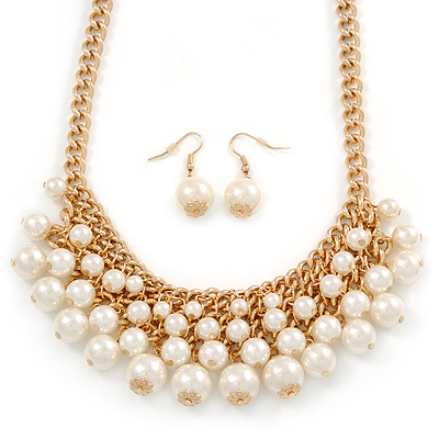 Gold Plated Cream Faux Pearl Bib Necklace and Drop Earrings Set - 40cm L/ 8cm Ext - main view