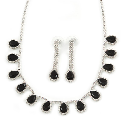Bridal/ Wedding/ Prom Jet Black/ Clear Austrian Crystal Necklace And Drop Earrings Set In Silver Tone - 36cm L/ 11cm Ext - main view