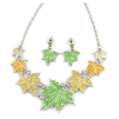 Yellow/ Green Enamel Maple Leaf Necklace and Drop Earrings Set In Rhodium Plating - 41cm L/ 7cm Ext