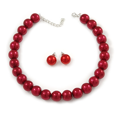 14mm Cranberry Red Glass Bead Choker Necklace & Stud Earrings Set - 37cm L/ 5cm Ext