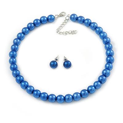 10mm Blue Glass Bead Choker Necklace & Stud Earrings Set - 37cm L/ 5cm Ext