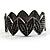 Black Tone Crown Shaped Swarovski Crystal Hinged Bangle