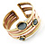Two-Tone Geometric Hematite Ethnic Cuff Bangle - view 16