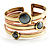 Two-Tone Geometric Hematite Ethnic Cuff Bangle - view 9
