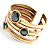 Two-Tone Geometric Hematite Ethnic Cuff Bangle - view 10
